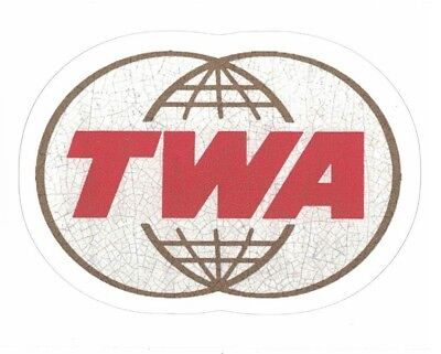 "TWA AIRLINES STICKER ~ Trans World Airways Airline Logo Emblem 4"" VINYL NEW"