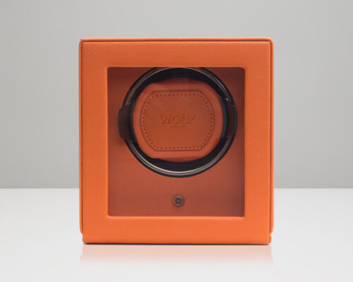 Wolf Single Cub Winder With Cover Battery Powered Watch Winder Orange
