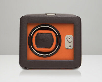 Windsor Single (WOLF Windsor Single Automatic Watch Winder with Cover Brown Orange)