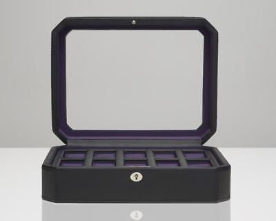 (WOLF Windsor 10 Piece Watch Box With Locking Glass Cover Black/Purple 458403)