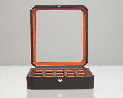 (WOLF Windsor 15 Piece Brown Leather Watch Box Orange Lining 458506)