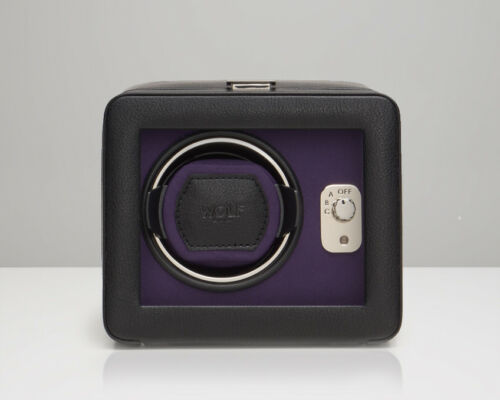 Wolf Windsor Single Automatic Watch Winder With Cover Black Purple 452503