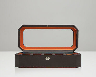 (WOLF 458306 Brown/Orange Windsor 5 Piece Watch Box With Glass Cover)