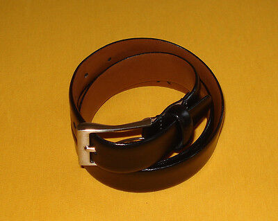 Mens Mens Wearhouse Black Made In Italy Full Grain Leather Belt Size 32 80Cm