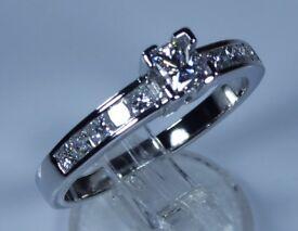 IGI Certified Platinum 0.75ct Diamond Princess Engagement Ring