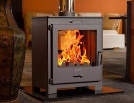 DOUBLE SIDE MODERN STOVE 9KW multi fuel woodburner wood burner multifuel fireplace sunroom kitchen