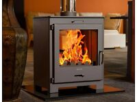DOUBLE SIDE MODERN STOVE 9KW multi fuel woodburner wood burner multifuel fireplace sunroom kitchen