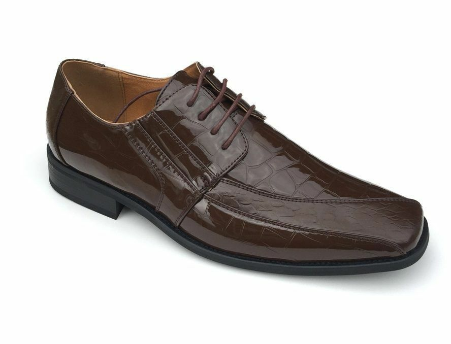 Men's Oxfords Faux Leather Croco Embossed Dress Shoes 5733 Brown