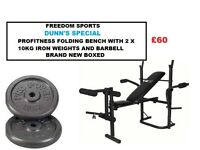 PROFITNESS FOLDING BENCH WITH 25KG IRON WEIGHTS SET 2 X 10KG, 5KG BARBELL BRAND NEW BOXED