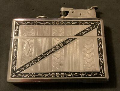 Art Deco Vintage Evans Roller Bearing Lighter Cigarette Case Combo Rare Size Old