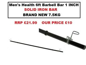 SOLID IRON Men's Health 6ft Barbell Bar WITH CLIPS BRAND NEW £10 7.5KG FOR 1 INCH WEIGHTS