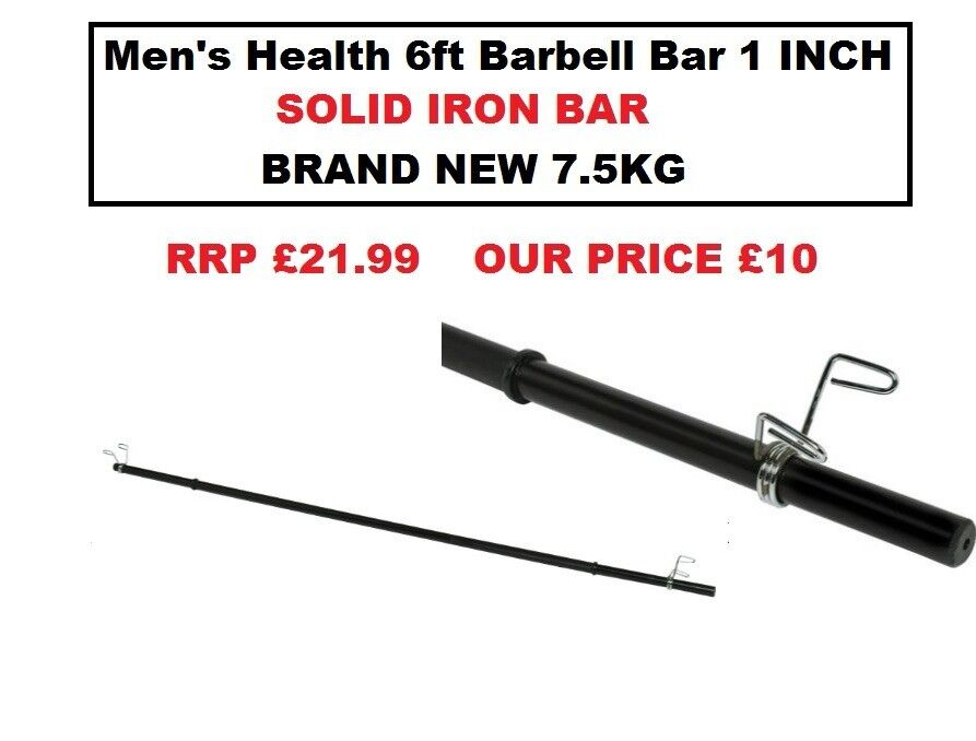 Solid Iron Men S Health 6ft Barbell Bar With Clips Brand New 10 7 5kg For