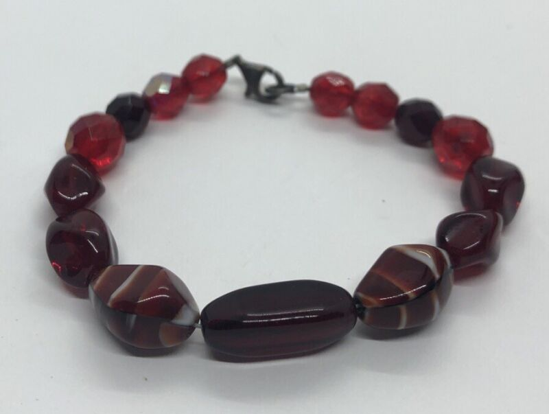 "Vintage Sterling Silver Bracelet 925 Red Glass Beads 7.5"""