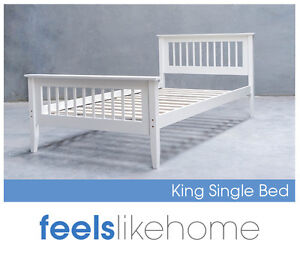 Kandi Brand New Timber King Single Bed Frame - WHITE - Kids, Boy, Girl