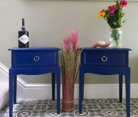 A pair of stag minstrel side tables in blue