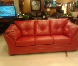 Red faux leather sofa bed London Ontario image 3