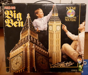 Puzz-3D Big Ben Clock 1483pcs RARE 1994