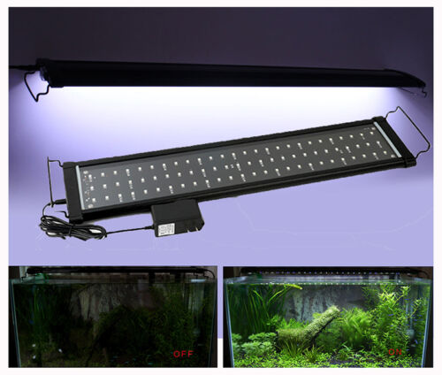 30-120CM Aquarium Light Fish Tank Over Head LED Hood SMD Lamp Light White/ Blue