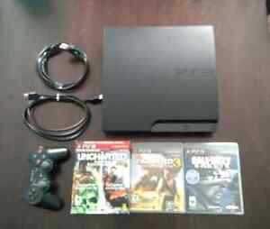 PS3 Slim 160G with 4 Games (w/o box)