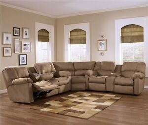 microfiber sectional - 2 recliners - cup holders - storage