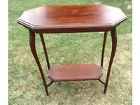 Elegant Edwardian, shaped, inlaid side table with lower tier, solid wood, Essex