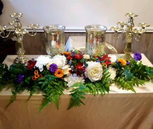Faux flowers for wedding central table