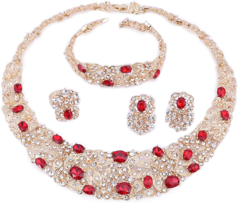 OUHE Jewelry Sets for Women Crystal Inlay Necklace Earrings