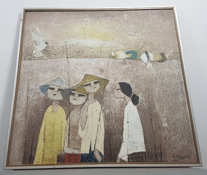 Vintage Rustic acrylic on canvas painting by Leo Hee Tong 梁其栋 1983