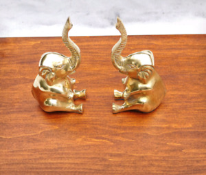 Vintage Solid Brass Elephants Bookends