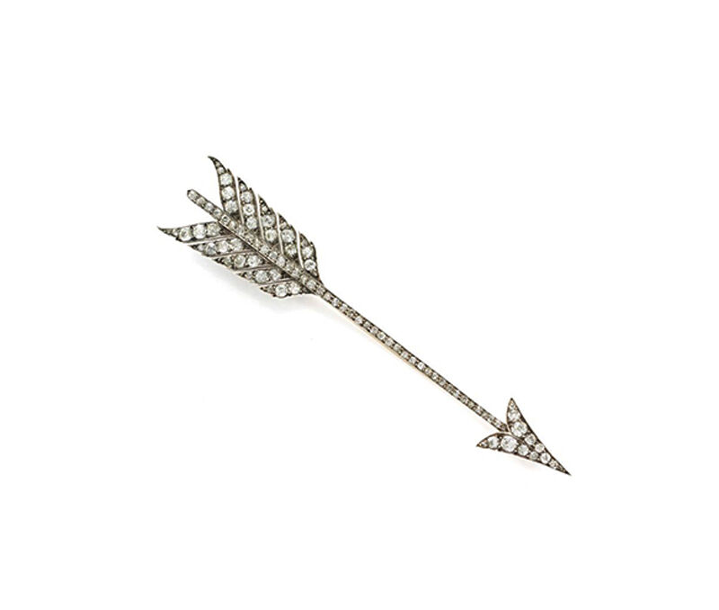 HANDMADE ANTIQUE ROSE CUT DIAMOND 0.84ct SILVER VINTAGE LOOK ARROW DESIGN BROOCH