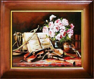 Gemälde Musikinstrumente Handarbeit Ölbild Bild Ölbilder Rahmen Bilder G02830 ()