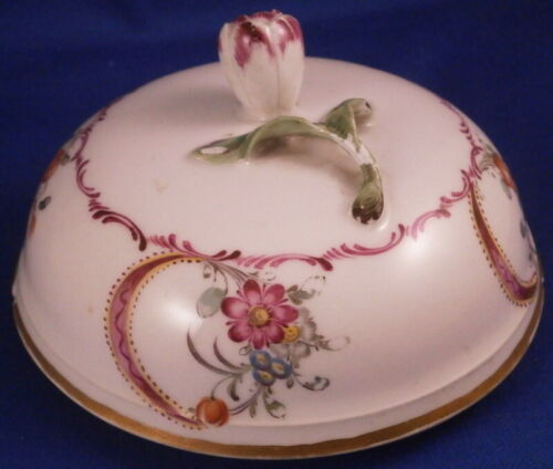 Antique 18thC Nymphenburg Porcelain Sugar Dish Lid Porzellan Deckel German
