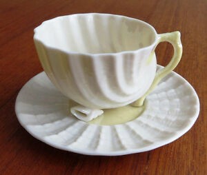 Belleek Neptune Shell Footed Tea Cup and Saucer Demitasse