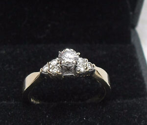 Vintage - 14kt Yellow Gold .33ct. Brilliant Round Centre Ring