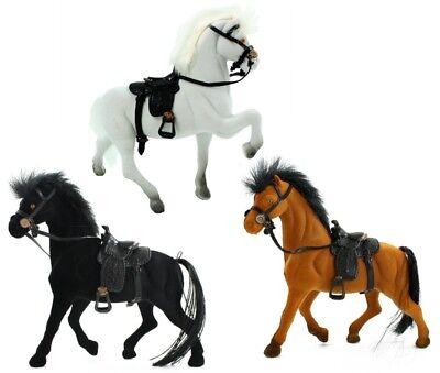 Pferd aus Fliska ca. 17 cm Spielzeug schwarz braun oder weiß