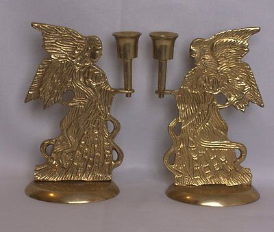 Vintage Set of Two Brass Angel Brass Taper Candle Holders Made in India