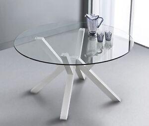 Tavolo cristallo rotondo cm 120 e 140 alto design accessibile ebay - Tavolo rotondo vetro diametro 120 ...