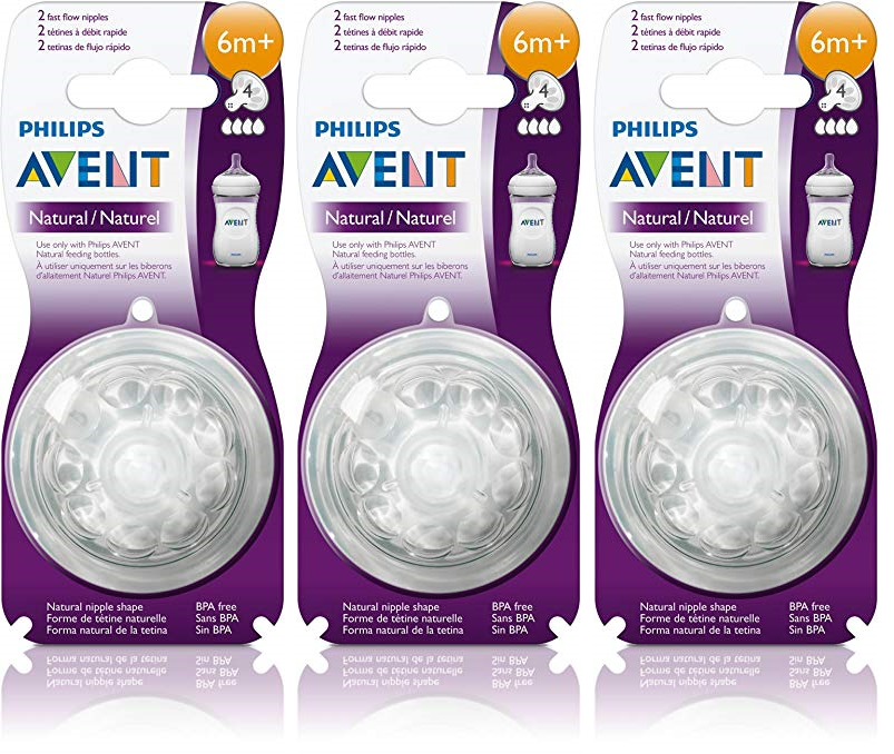 2x 2-Packs Philips Avent Natural Fast Flow Nipples 4 Nipples