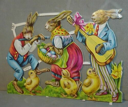 Vintage Antique 1920s German Diecut Easter Bunny Eggs Chicks Rabbits 6 1/2""