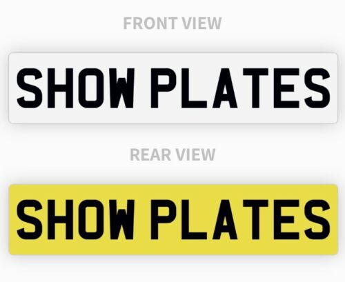 Car Parts - Pair White & Yellow Show Custom Plates Printed On Number Plates NOT Road Legal