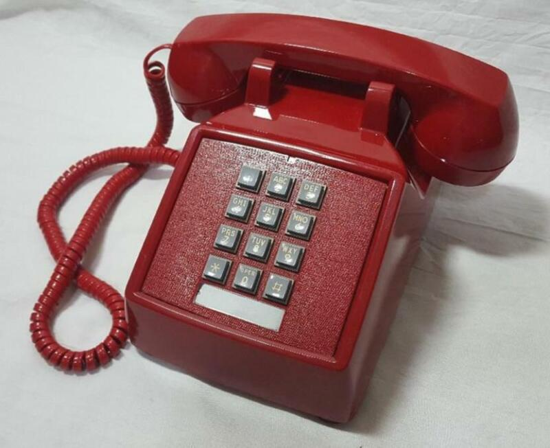 ITT Cortelco Push Button Corded Red Hotline Desk Telephone 250047-mba Clean