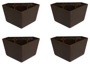 Set Of 4 Universal Dark Brown Plastic Furniture Triangle Legs Sofa Couch Chair