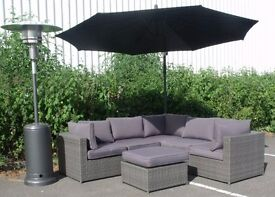 Brand New Luxurious Mixed Grey Weave Rattan All Weather Sofa Set Grey Cushions Glass Topped Table