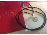 CHLOBO NATURAL HEMATITE NECKLACE 90CM & STERLING SILVER PEACE CHARM RRP £320