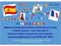 Spanish or French 5 week evening Summer courses