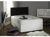 "DIVAN DOUBLE BED WITH 11"" MEMORY FOAM MATTRESS AVAILABLE N WHITE & BLACK COLOUR DO SINGLE & KINGSIZE"