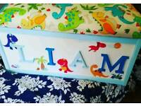 Childrens personalised toy box