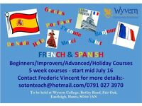 Spanish or French 5 week evening Summer course