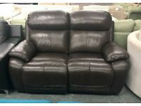 DFS Daytona brown leather recliner 2 seater sofa