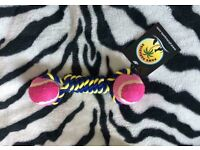 Blue and yellow plaited and twisted 'rope' with a pink and dark pink coloured ball each end